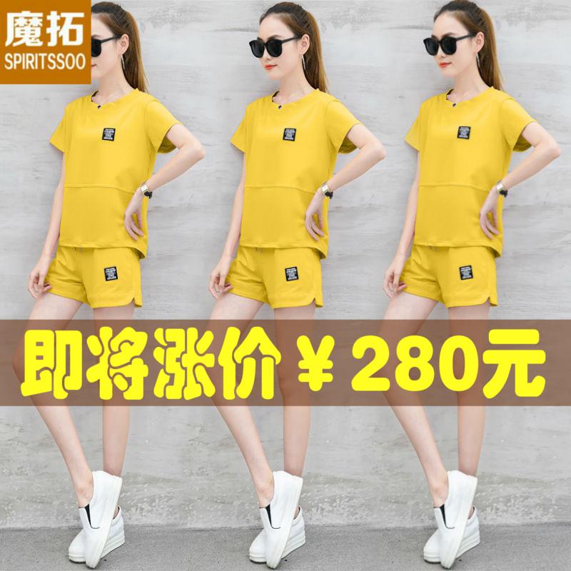 2018夏季新款韩版休闲运动服套装女宽松大码短袖短裤跑步服两件套