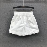 查看简约百搭白色牛仔短裤女2021夏季新款港味薄款宽松松紧腰阔腿热裤价格