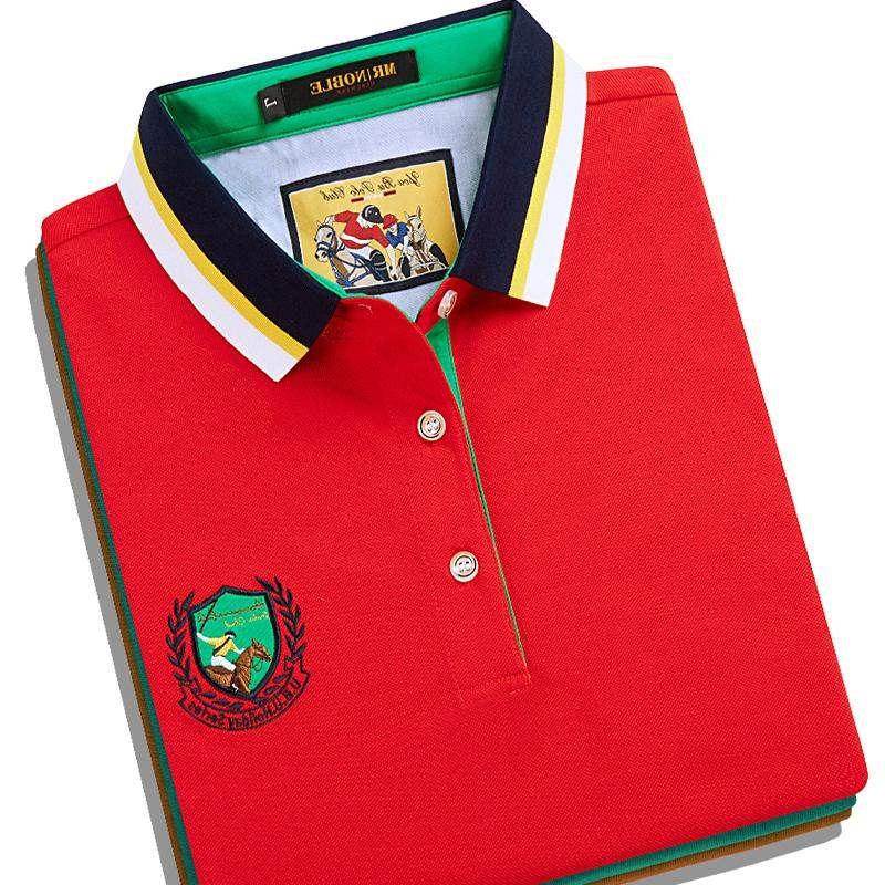 Top grade brand cotton red t-shirt mens short sleeve collar middle-aged and elderly loose casual Polo Shirt Large