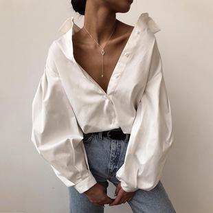 灯笼袖 instahot 设计感小众性感白色长袖 女秋欧美风女装 上衣 衬衫