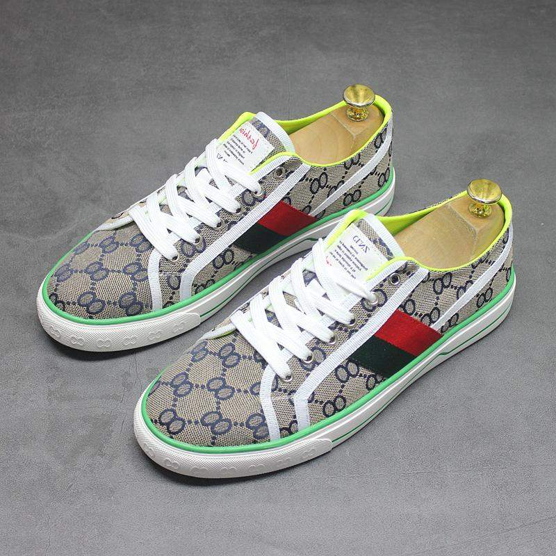 Europe station European and American trend spring and summer new low top shoes mens casual breathable printing embroidered canvas shoes graffiti