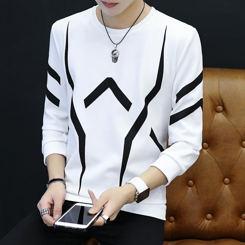 长袖T恤男士打底衫圆领秋衣男学生韩版潮流体恤春季卫衣男上衣服