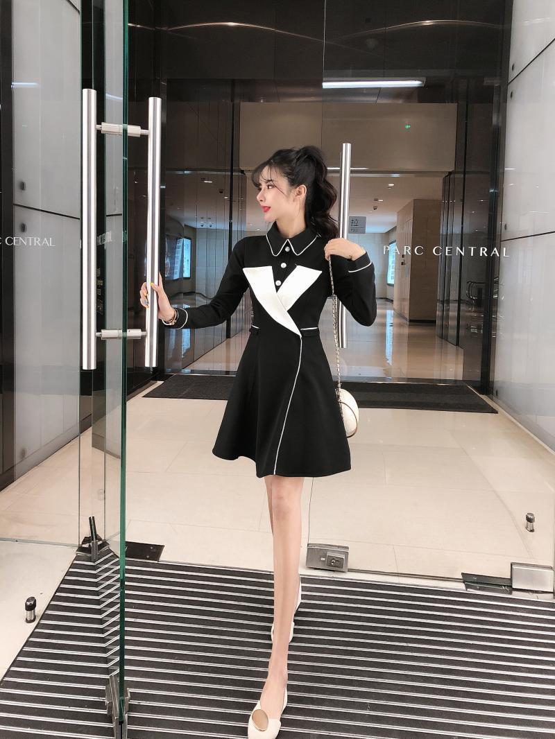 實拍女神范秋冬新款網紅西裝氣質撞色長袖修身連衣裙