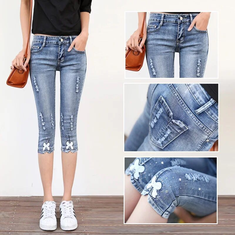 2020 new summer stretch tight holed Capri Jeans for girls