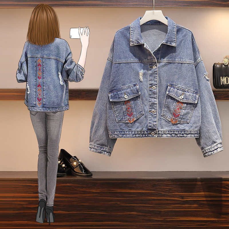 Large womens 2020 spring top fat mm thin covering meat national embroidery fashion versatile jeans jacket