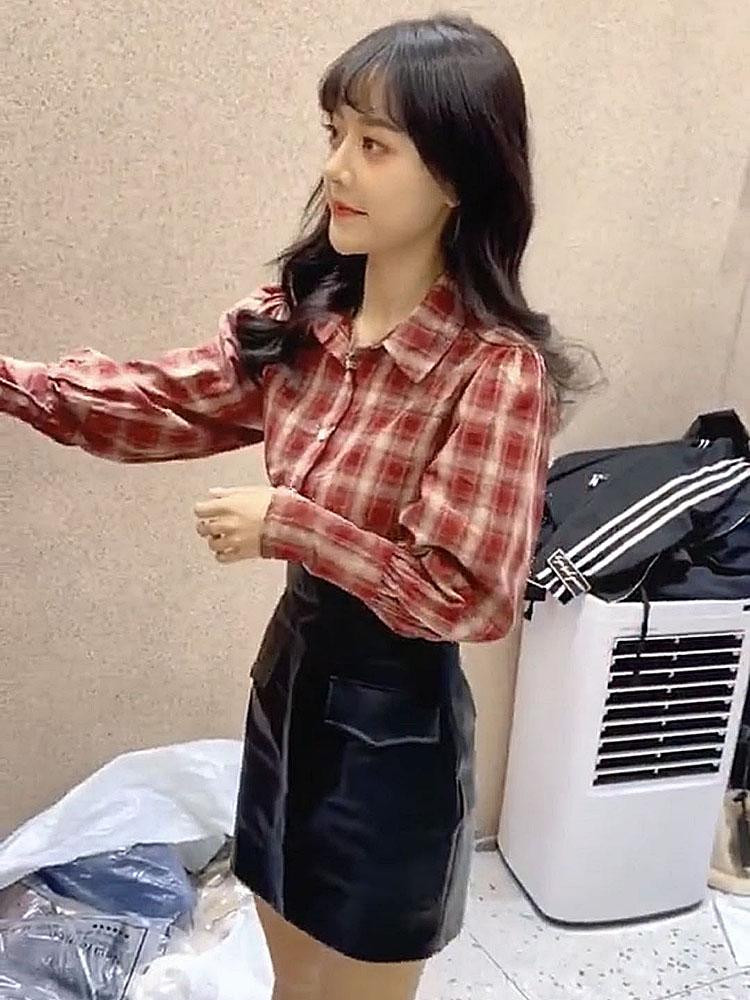 视频上衣和裙子点击购物车购买 情侣装长袖格子衬衫气质百搭衬衣