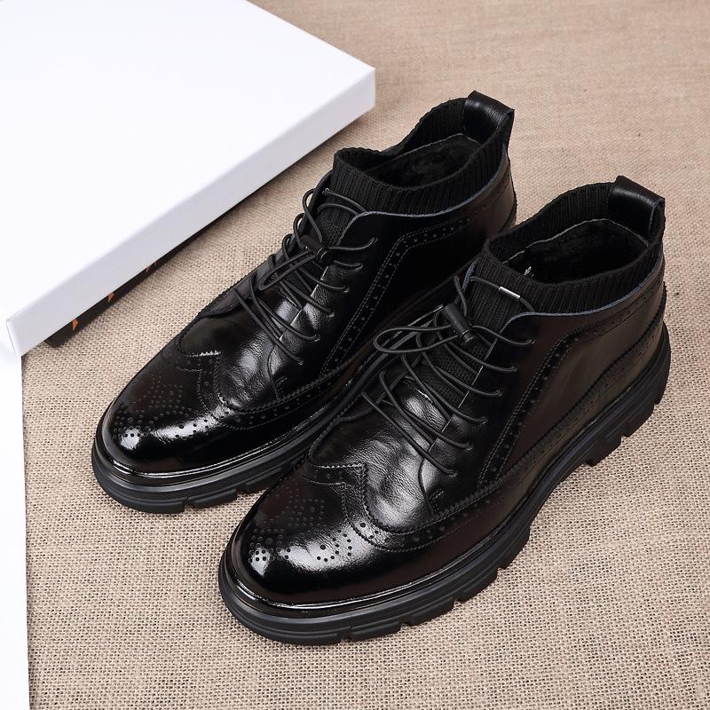 花花公子温州皮鞋冬季男士休闲马丁靴韩版布洛克加绒保暖短商务鞋