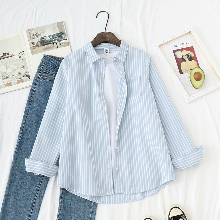 Autumn 2020 new striped shirt womens Korean version loose long sleeve cardigan small fresh college style shirt coat woman