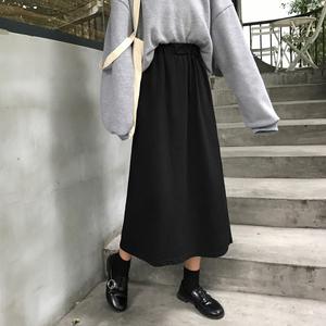 2019秋冬季新款韩版高腰裙子伞裙学生半身裙复古A字裙黑色长裙女