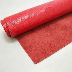 大红色牛皮皮料真皮皮子面料红色牛皮头层整张裁剪荔枝纹皮子