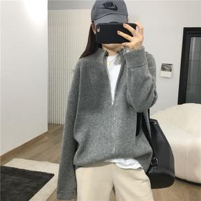 韩版拉链纯色羊绒手感针织开衫女2021春季新款bf慵懒休闲宽松外套