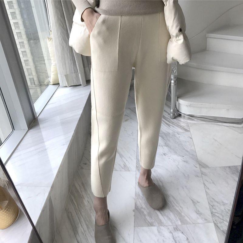 萝卜裤女秋冬毛呢哈伦裤高腰休闲香蕉裤大码九分小脚西装裤长裤