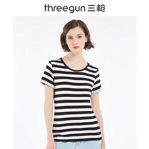 三枪女士打底半袖衬衫T恤舒木尔色织横条圆领短袖宽松透气女衫