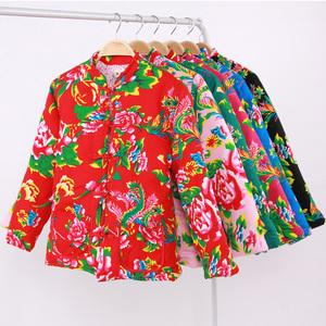 女装丝绵东北大花布棉衣棉服冬季修身加厚新娘红色棉袄长袖外套
