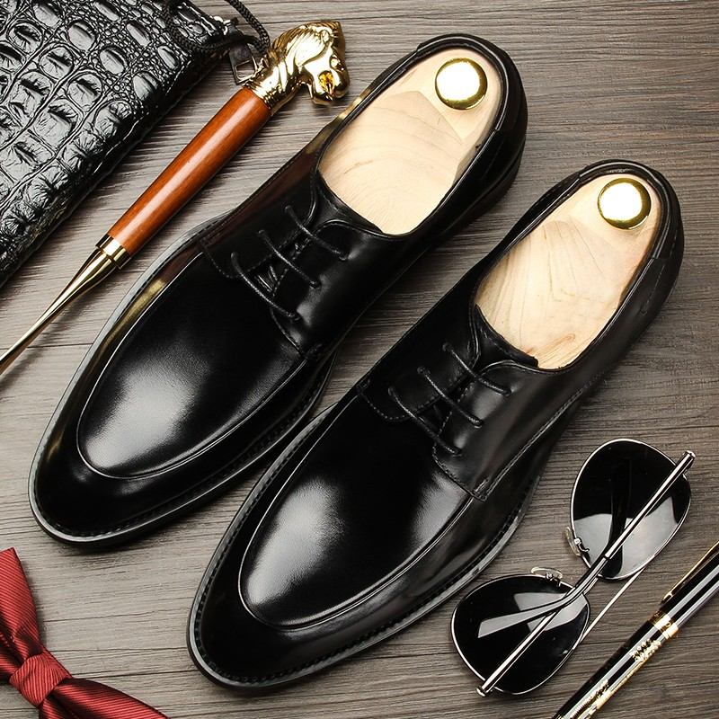 Top grade Korean genuine leather business dress leather shoes British pointed mens shoes breathable Derby wedding shoes cowhide mens shoes