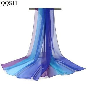 舞蹈丝巾女士纱巾围巾形体礼仪训培训练渐变色薄纱走秀服饰配件