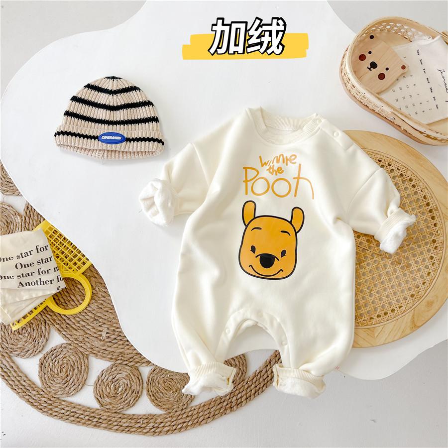 加绒婴儿服装 潮流小熊卡通宝宝爬服哈衣 外出服