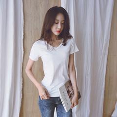 1633实拍2018夏装新款纯色常规韩版白色V领宽松上衣短袖棉t恤女上