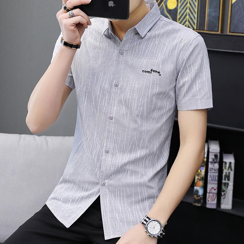 短袖衬衫男士帅气衬衣韩版修身休闲半分袖寸衫简约男短袖上衣潮