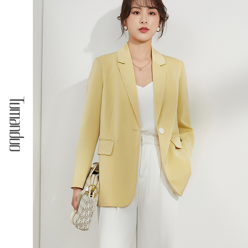 Small suit jacket female design sexy 2021 spring British wind yellow temperament high-grade satin west