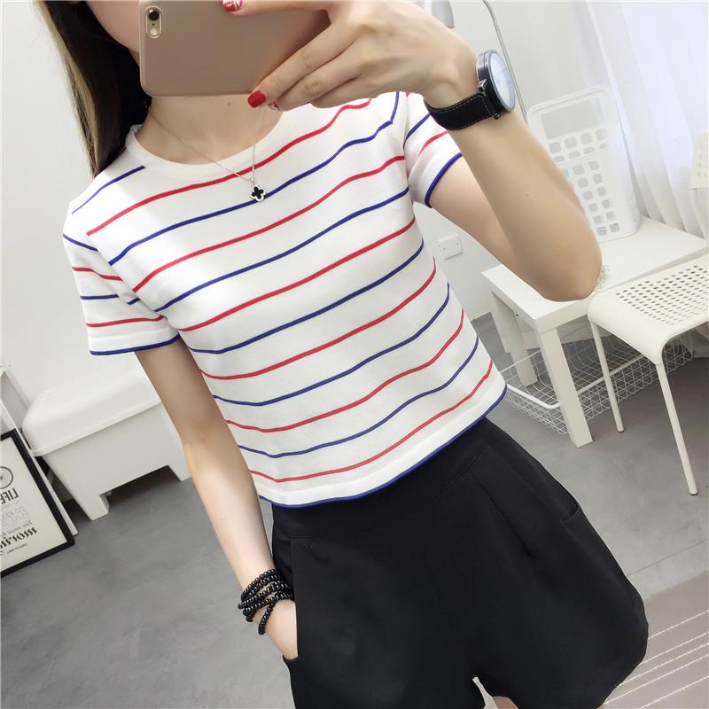 新款2018春季条纹T恤女短袖短款圆领修身打底衫韩版百搭上衣潮