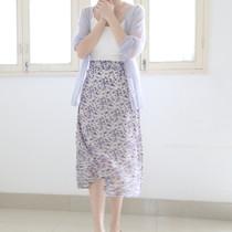 2020新款 淡淡紫色小碎花雪纺半身裙松紧腰中长裙女裙子夏季