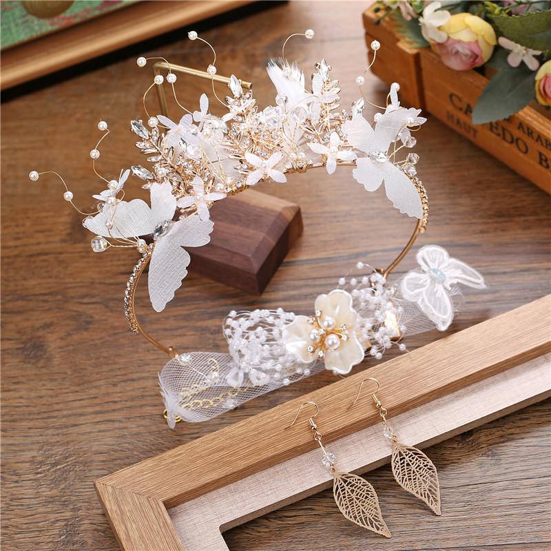 10月14日最新优惠新娘皇冠韩式新款超仙羽毛头饰耳环
