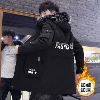 冬季男韩版中长款加绒2020新款棉衣