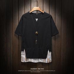 夏装新款棉麻民族风短袖体恤衫个性拼接T517P40 棉%100