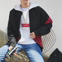 港风2017秋装新款日系棒球领拼色外套男士印花加大码夹克JK12P85