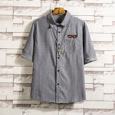 夏季潮流立领短袖衬衫 眼镜半袖衬衣QT3007-T012-P40