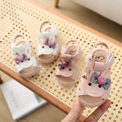 学步鞋女宝宝0-1-3岁2婴幼儿女童夏季软底防滑露趾不掉卡通凉鞋萌