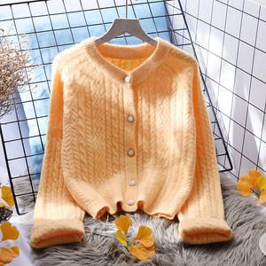 橘色毛衣外套女短款宽松外穿2020新款韩版春秋百搭长袖针织开衫