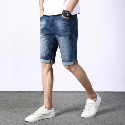 男士夏季牛仔韩版修身弹力潮流短裤