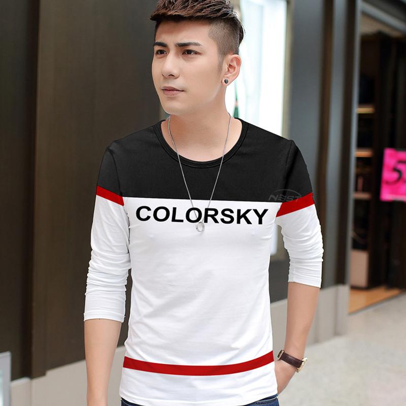 男士韩版修身青年学生长袖T恤