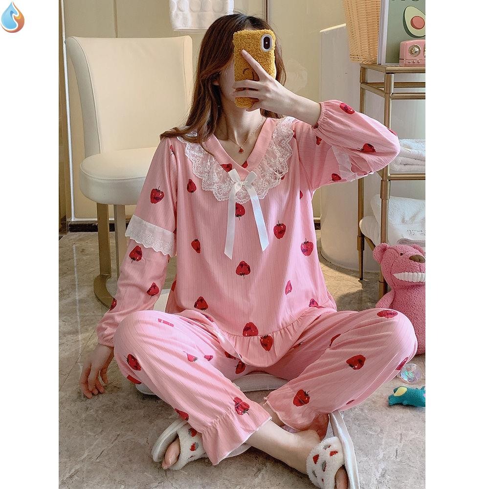 Lovely pajamas womens season thin long sleeve cotton loose home clothes two piece set summer net red strawberry