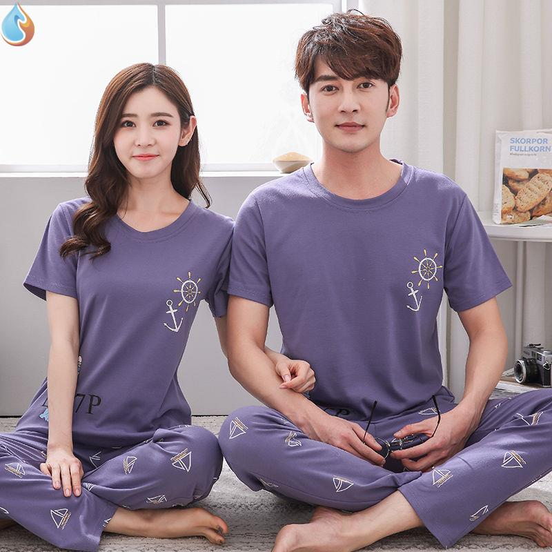 Summer couples pajamas cotton short sleeve pants men and womens thin two piece suit student home clothes