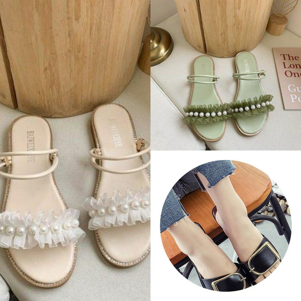 女士凉拖鞋2020新款时尚凉拖女平底外穿漂亮露趾个性简单耐穿