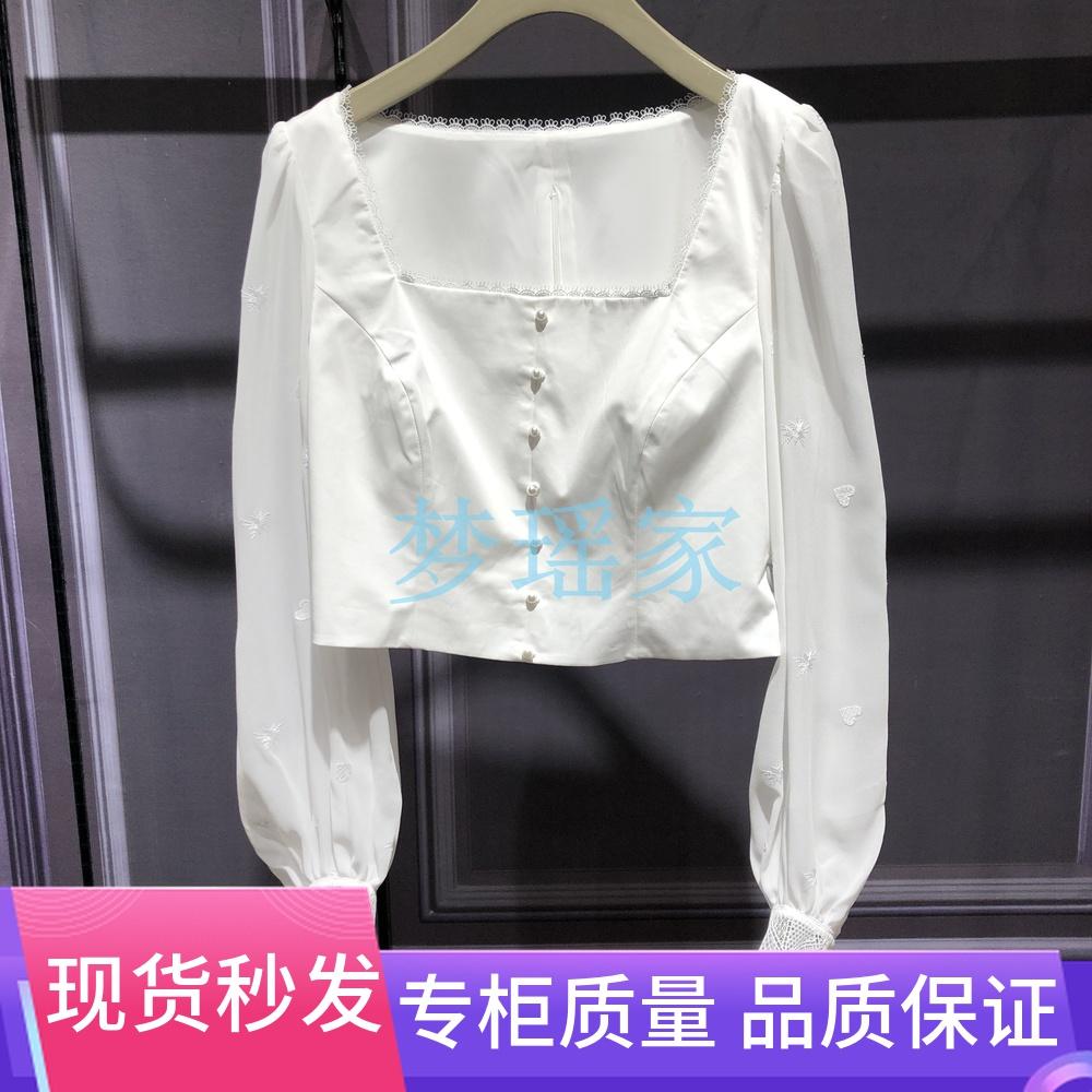 伍欧时力淼2020新款夏装方领泡泡袖短款法式衬衫女1RY2011460