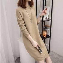 2019 new semi-turtleneck sweater womens pullover long section autumn and winter bottoming shirt loose Korean version long-sleeved sweater tide