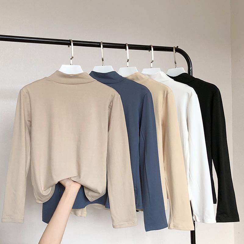 高领加绒打底衫白色内搭长袖修身大码女装胖mm秋冬装200斤保暖t恤