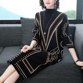 妈妈新款春装毛衣中年40岁女土连衣裙子中老年女装打底衫中长款裙