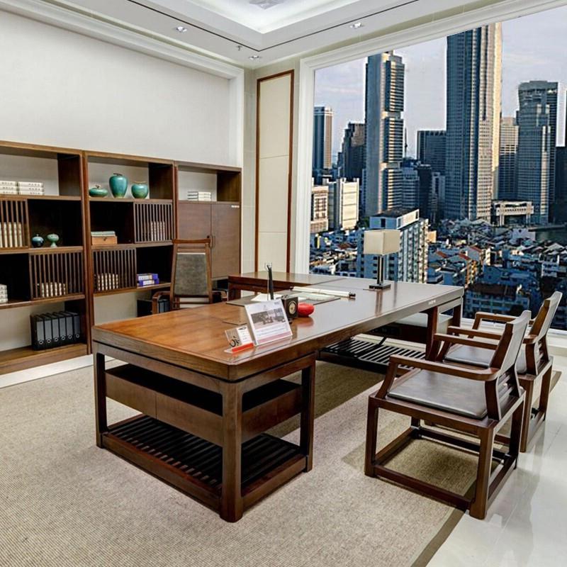 新中式老板桌实木大班台总裁桌现代简约大气办公桌办公室家具定制
