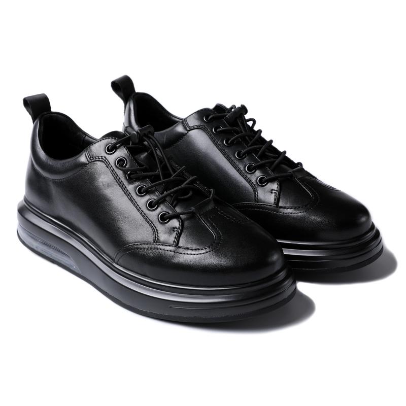 诺必达秋冬 高品质牛皮 时尚商务厚底气垫 低帮休闲鞋皮鞋男鞋N31