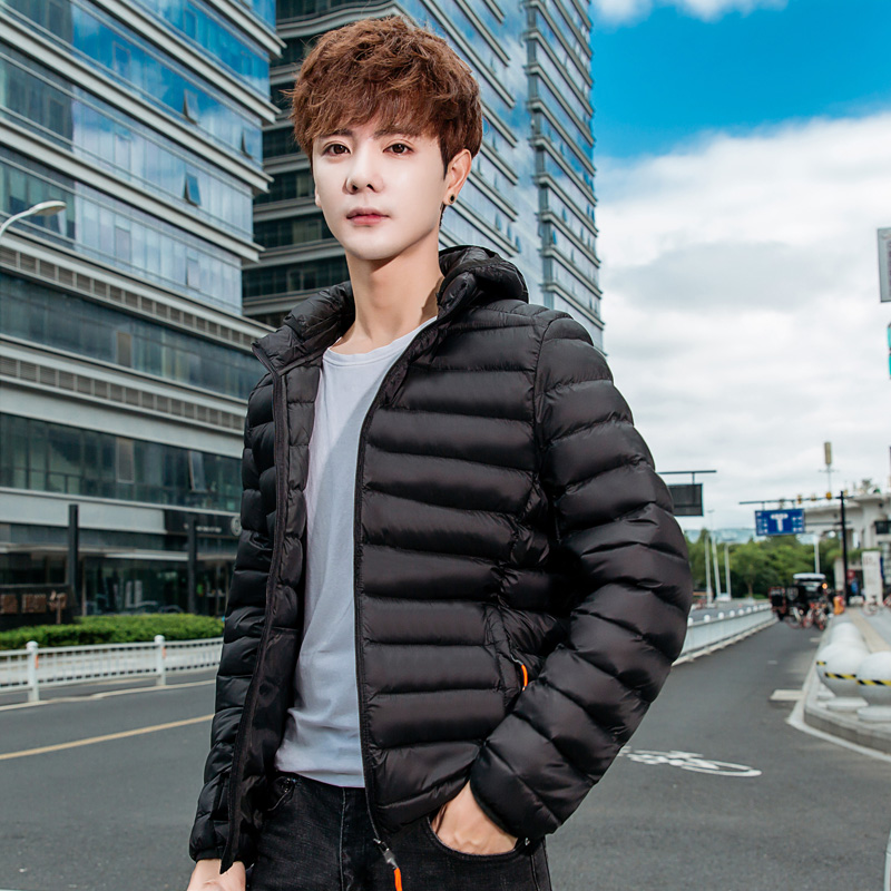 Down cotton padded jacket for men new lightweight warm cotton padded jacket for students