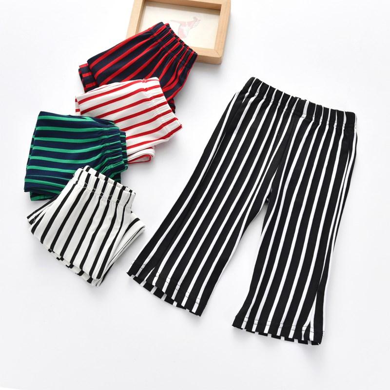 可乐童匠童装2018新款裤子儿童微喇叭裤女夏条纹休闲莫代尔7分裤