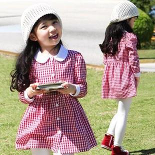 女童連衣裙春秋裝新款韓版兒童格子襯衣中大童上衣熱銷