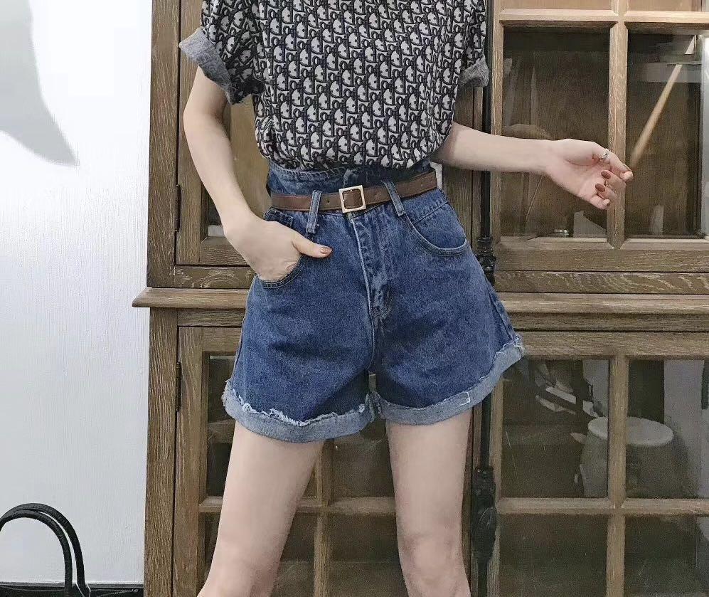 2019秋冬新款女装短裤时尚百搭显瘦高腰配皮带牛仔短裤(用1元券)