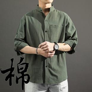 亚麻衬衫男长袖秋季百搭中国风男装衬衣宽松男士外套棉麻休闲上衣