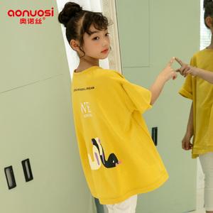 女童短袖t恤纯棉2019夏装新款儿童宽松体恤胖女孩韩版中大童上衣